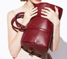 2015 hot sell new arrival wine red lady Boston bag/handbag,casual leather travel bag/handbag