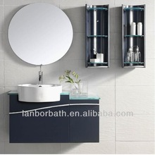 Modern black wall mounted wooden bathroom cabinets round mirror with PVC side shelves and glass top FS157