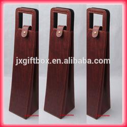 Luxury & Elegant pu leather wine bag faux leather wine bag wine carrier