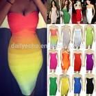 2014 New Arrival Fashion Rainbow Sexy Women Bandage Dress