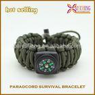 550 Paracord Survival Bracelet Fish Kit Compass Whistle buckle