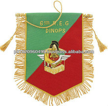 Customized Embroidered Pennant   Gold Fringed & Tassel Pennant   Club Flags