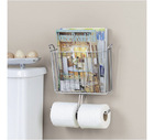 diy metal organizers for shelving rack shelf storages wall mount chrome magazine and double toilet paper holder