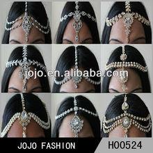 Women hair head piece chain wholesale,crystal head jewelry, indian head chain