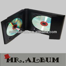 Hot-sell Double leather fancy cd dvd case with overlap cover wholesale