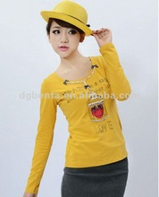 2012 autumn lady cotton plain long sleeve t-shirt printing