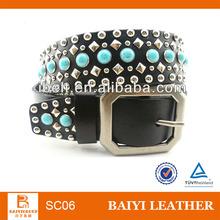 2013 black turquoise rhinestone genuine leather cowgirl belt for woman