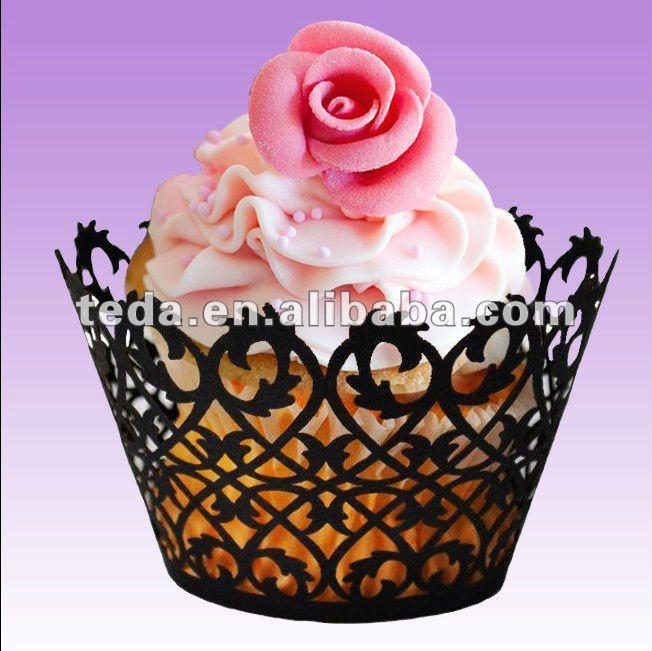 2015 filigrana envoltórios do queque decoração do bolo de casamento acessório