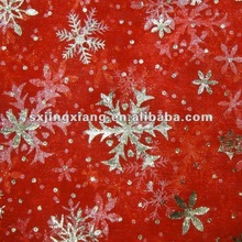 polyester snowflake foil Organza Fabric for package
