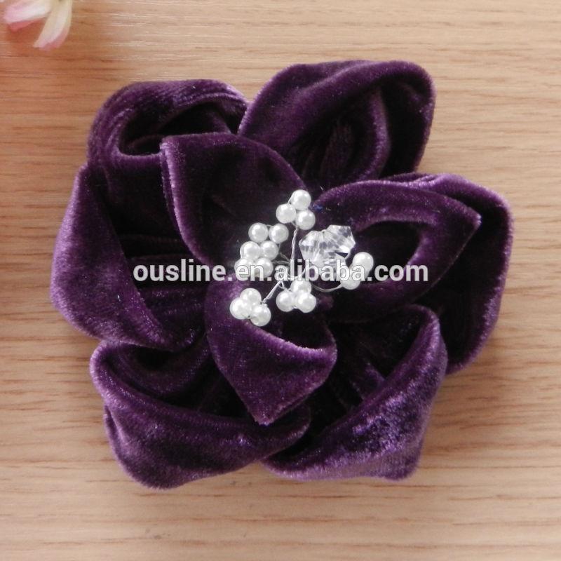 Velvet Fabric Flower Brooch