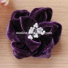 velvet fabric flower brooch, velvet bead flowers,handmade velvet fabric flower corsage wholesale