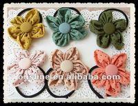 polka dot fabric sunflower hair accessories,decorative flower corsage,girls flower hair dress