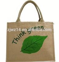 2015 fashion stylish printed promotion jute bag shopping tote packing bag