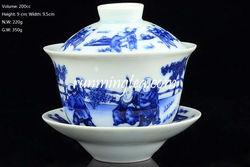 """""""Chinese Kids Playing"""" Blue & White Gaiwan 200cc"""