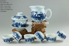 """Chinese Kids Playing"" Blue & White Porcelain Teaware Set, 1 Gaiwan, 1 Pitcher & 6 Cups"