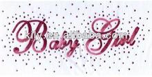 baby girl sequin hot fix motif with nailheads glitter rhinestone transfer