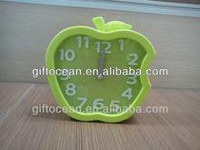 apple shape plastic sweep desk alarm clock with 3D scale