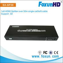SHUNXN SX-SP20 1x8 HDMI Splitter over single cat5e/6 UTP cable hdmi splitter to coaxial