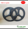 Chinese cheap12k 70mm clincher carbon tri-spoke wheel for 700c road bike