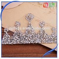2015 New design crown iron on rhinestone transfer designs