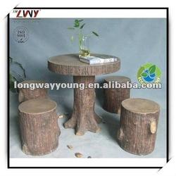 29 Inches fiberglass wooden finish round garden table