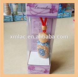 2014 custom shape hanging perfume glass bottle car freshener