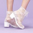 2014 Fashion Transparent Lace Rain Boots dance boots with patent