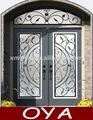arco de la ceja superior y frontal de doble doble entrada residenciales de hierro de acero puertas francesas diseños de la parrilla