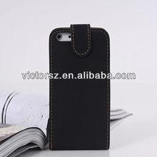 Black Vertical Retro Flip Leather Case for iPhone 5