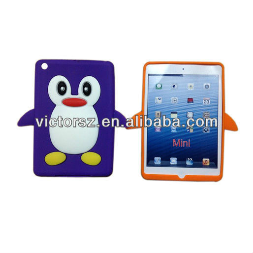 For iPad Mini 3D Case, Purple Penguin Silicone Case