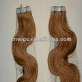 Stokları vücut dalga bandı saç uzatma/dalgalı bant saç/remy bantlanmış saç uzatma