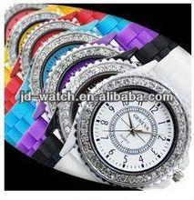 Geneva fashion silicone watch with diamond
