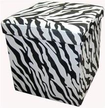 Zebra Print Storage Stool Storage Box
