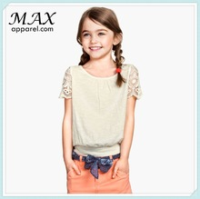 100%cotton short lace sleeves girls top wholesale girl top