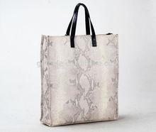 2015 latest design hot sale famous brand good quality handbag Snake lines cow leather big bag Guangzhou manufacturer
