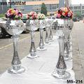 El precio de fábrica de la columna de resina decoraciones de la boda; plata espejo decorativo& resina de pilar de la boda( ms- 214)