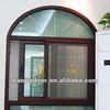 Wanjia grill design aluminium fixed plus sliding open style arch window