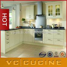 L shaped pvc beech wood kitchen furniture