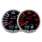 60mm 10-Color 4 in 1 Boost, Volt, Oil Pressure, Oil Temp Auto Racing Gauge with Remote Controller
