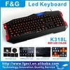 LED backlight keyboard Multimedia computer Keyboard with 15 programmable keys