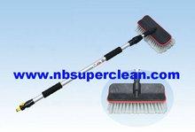 Car wash long handle soft bristle telescopic water flow truck wash brush