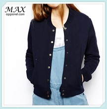 China supplier women bomber Jacket Band collar jacket