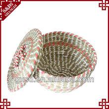 sd bella mano cestino di paglia di grano con coperchio