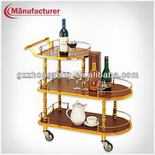 3 Layer Hotel Wooden Dessert Service Cart/Restaurant Liquor Trolley Cart