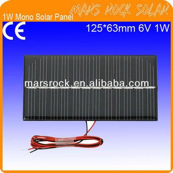 6V 1W Mini Monocrystalline Solar Panel with Epoxy Resin Encapsulation