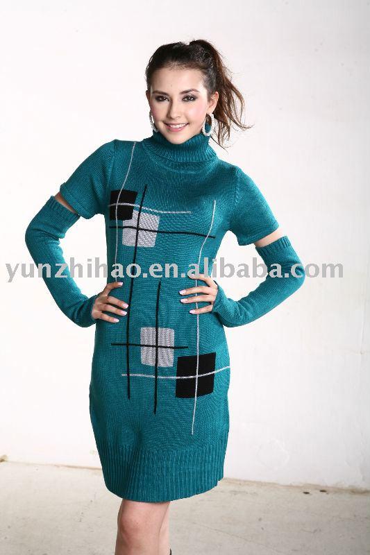 Invierno de la señora manga corta con golves invierno elegante suéter largo