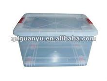 Transparent custom plastic storage box with wheels