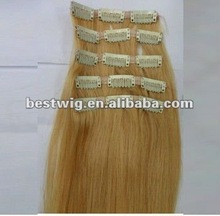Remy human clip-in hair extension hair piece