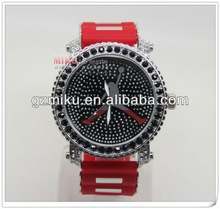 Diamond big face men watches,silicone Jordan watch