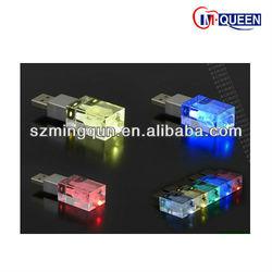 Shenzhen 3D Laser custom logo crystal USB 2.0 Crystal usb flash drive memory with Different Led Light Inside
